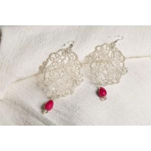 Silver filigree lace earrings
