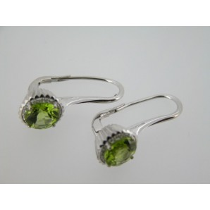 Big Round Cupcake Earrings in White Gold, Peridot and Diamonds