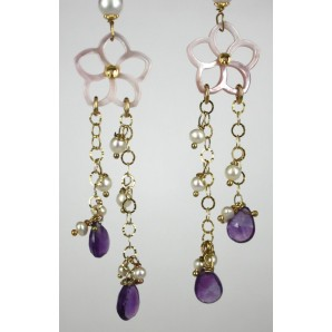 Earrings in Silver, Amethysts, Mother of Pearls and Pearls