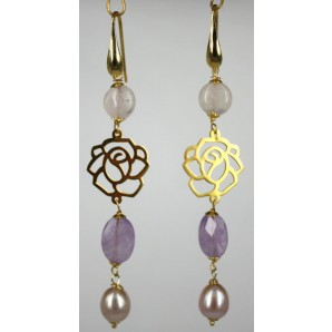 Earrings in Silver, Amethysts, Pink Quartz and Pearls