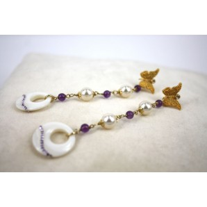 Earrings in Silver, Amethysts, Zircons and Mother of Pearls