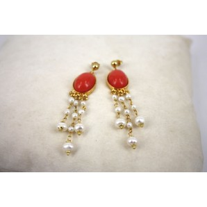 Earrings in Silver, Coral and Pearls