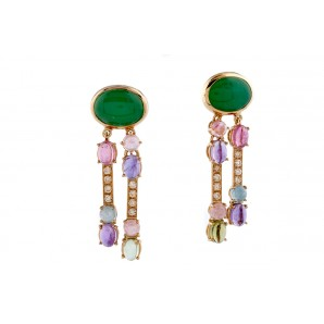 Gold Earrings with Chrysoprase and Semiprecious Stones