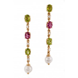 Gold Earrings with Pearls, Tourmaline and Peridots