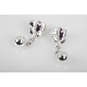 Orchid Earrings in lucid resin and Amethysts