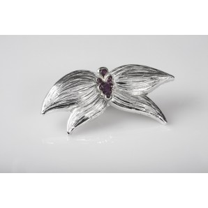 Orchid Brooch glossy resin with amethysts