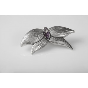 Orchid Brooch in opaque resin and Amethysts